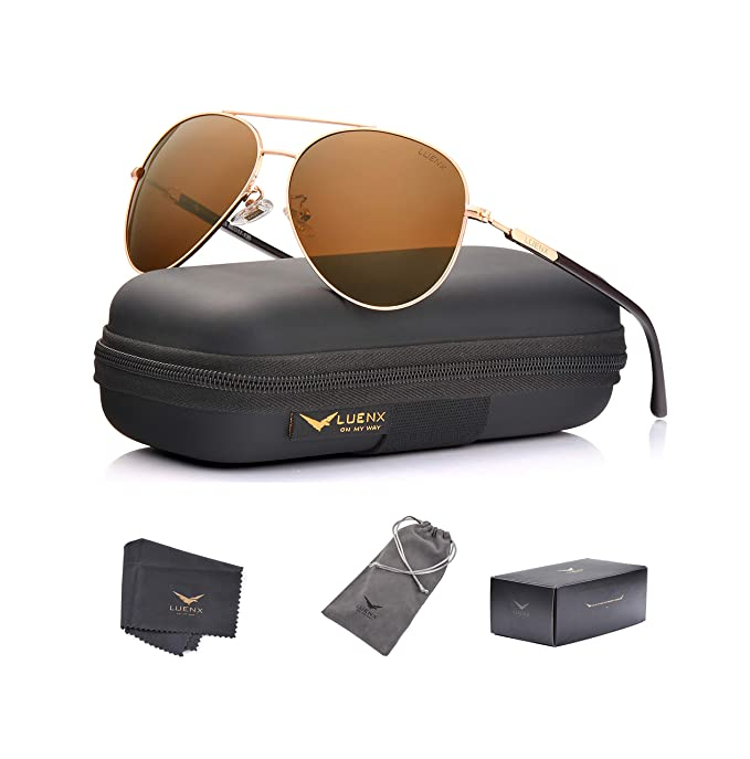 cc5d13cfcf LUENX Aviator Sunglasses Mens Womens Polarized Brown Plastic Lens Gold  Metal Frame Large 60mm