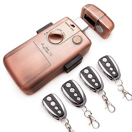 Cerradura electrónica Inteligente invisible con 4 mandos RC LOCK. Color Bronce.