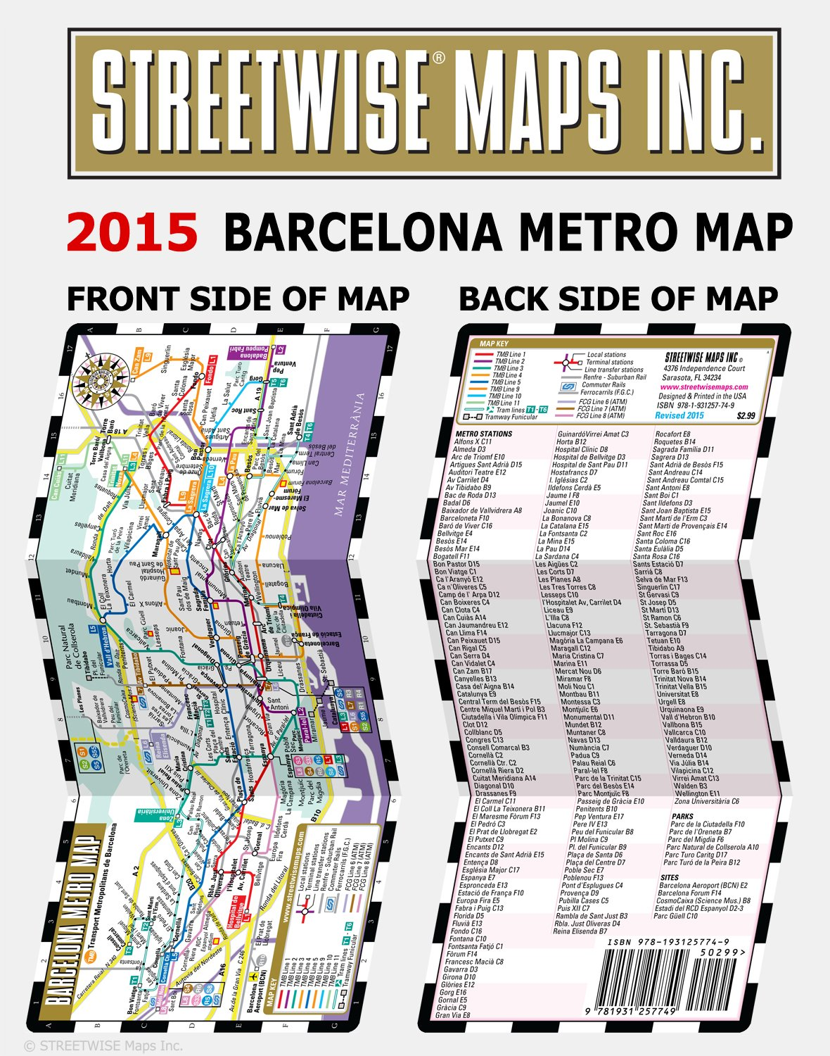 Subway Map Of Barcelona Spain.Streetwise Barcelona Metro Map Laminated Metro Map Of Barcelona