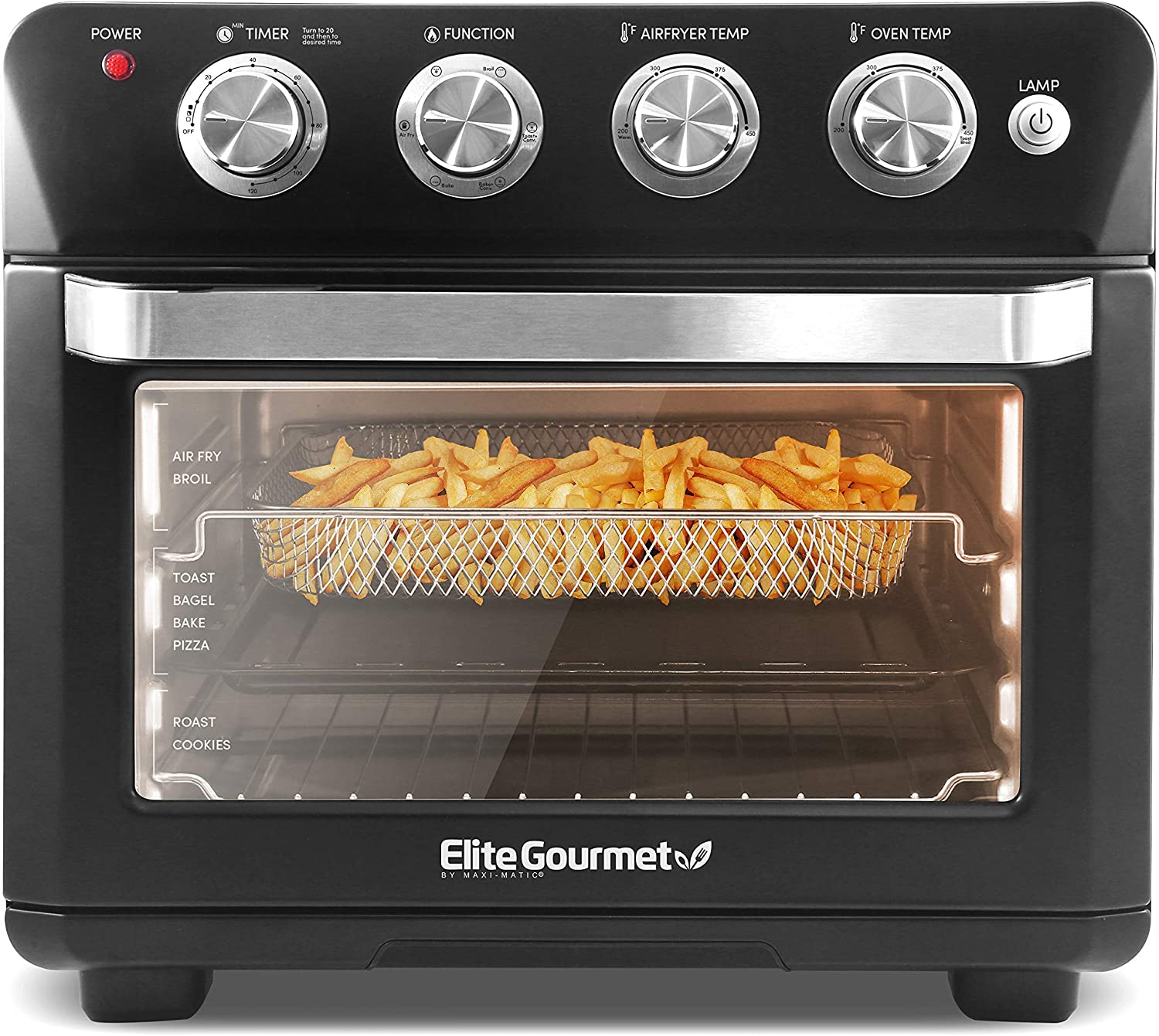 Elite Gourmet EAF9100 Maxi-Matic Electric 25L Air Fryer Oven, 1640 Watts Oil-Less Convection Oven 12