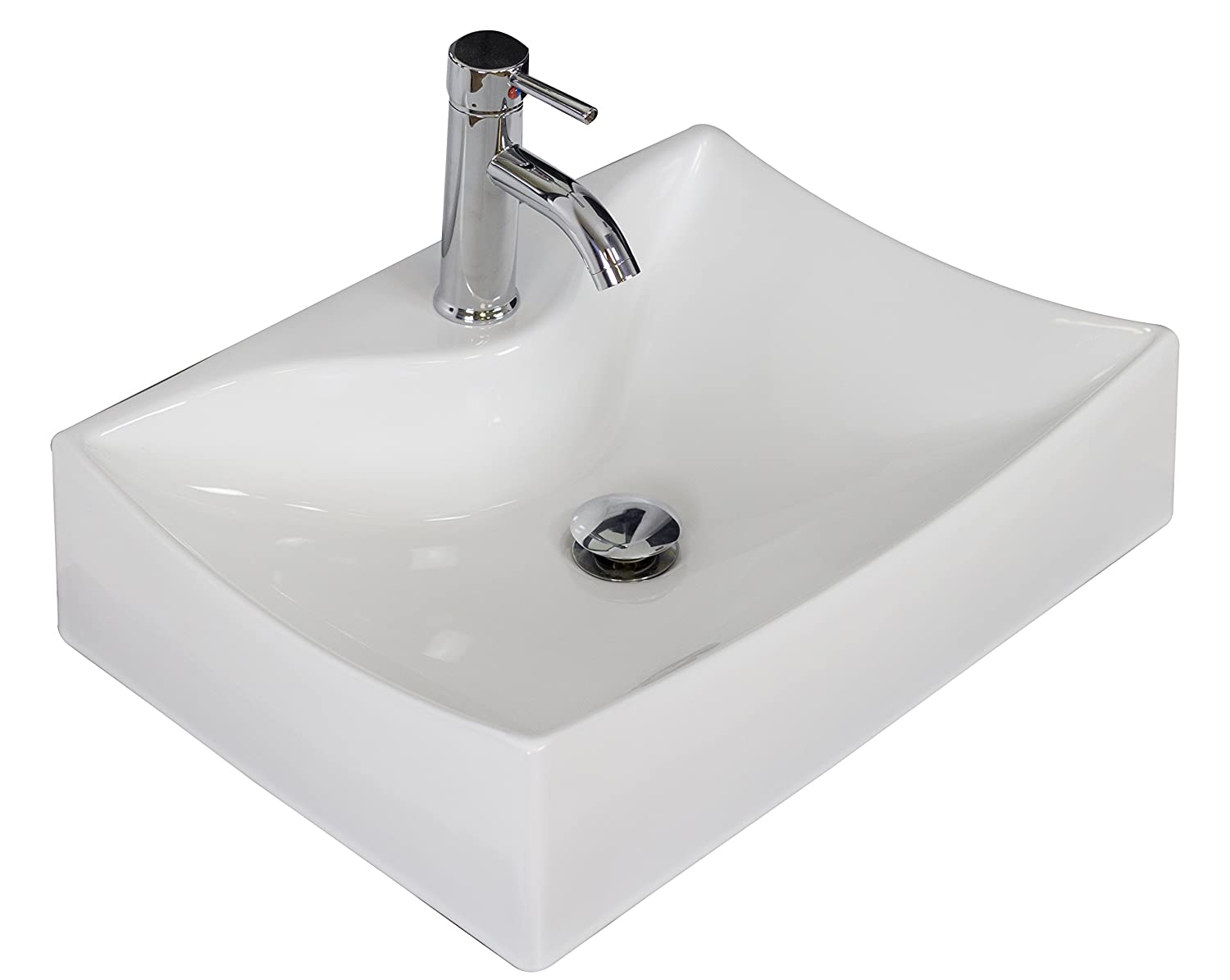 American Imaginations AI-7-1732 Above Counter Rectangle Vessel for Single Hole Faucet, 21.5-Inch x 16-Inch, White IMG Imports Inc.
