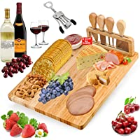 Bamboo Cheese Board and Knife Set - 8 PCS Charcuterie Board Set Include Cheese Knives Wine Opener Ceramic Bowl for Wine…