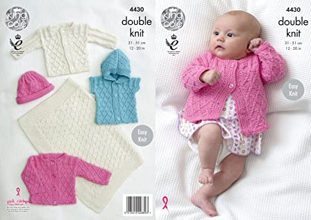 King Cole Baby Double Knitting Pattern Easy Knit Blanket Jackets