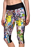 Lady Queen Women's Pokemon Pikachu Printed Fitness Knee-length Capri Pants