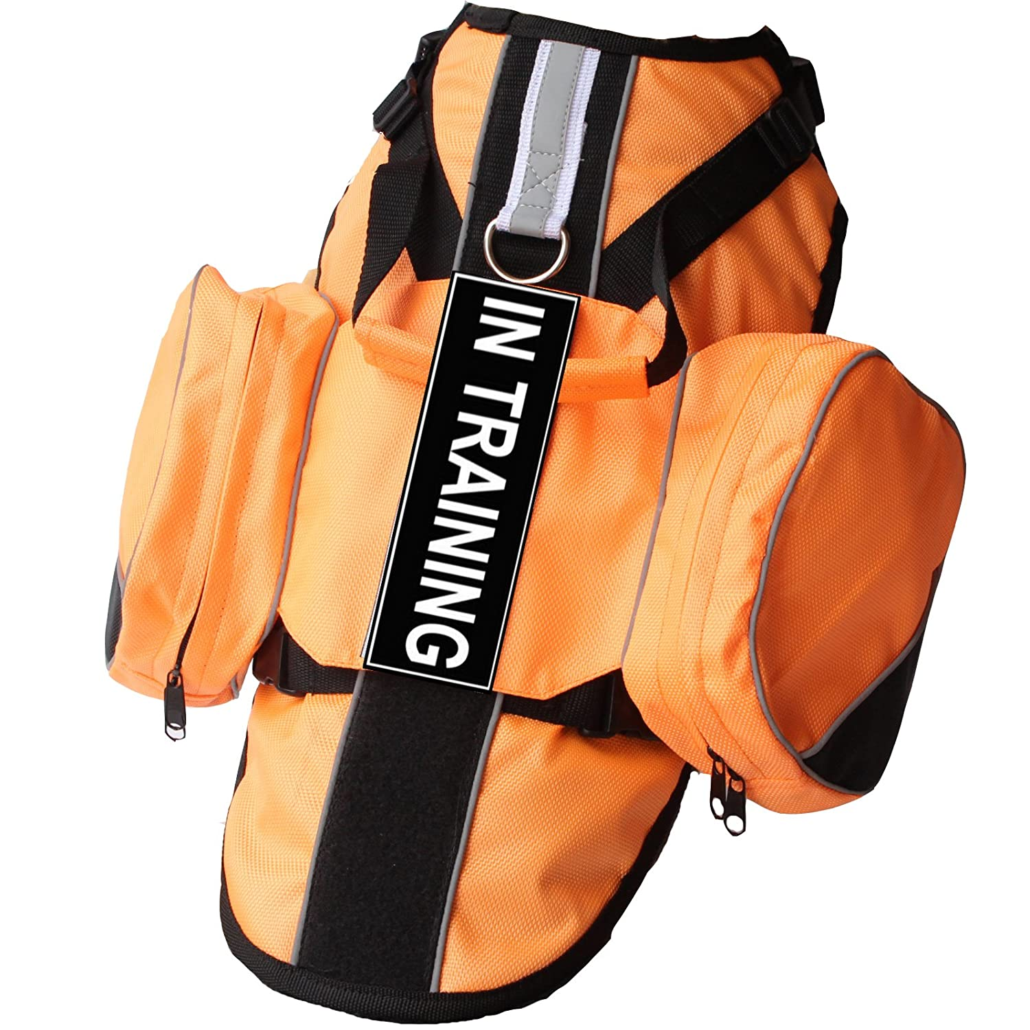 orange S orange S haoyueer Service Dog Vest Harness Chest Plate Removable in Training Label Patches & Side Saddle Bags(orange,S)