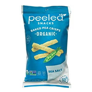 Peeled Snacks Organic Baked Pea Crisps, Sea Salt, 3.3 Ounce (Pack of 12)