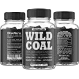 Activated Charcoal from 100% Organic Coconut Shells by Wild Foods - Digestion, Gas Relief, Ease Hangovers - Lab Tested, USA made, Non-GMO, Premium Purity (100 Capsules)