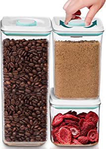 HWONMTE Food Grade Airtight Storage Containers, Cereal Container Set with Vacuum Seal Lids, BPA-Free Stackable Canister Keeps Food Fresh & Dry