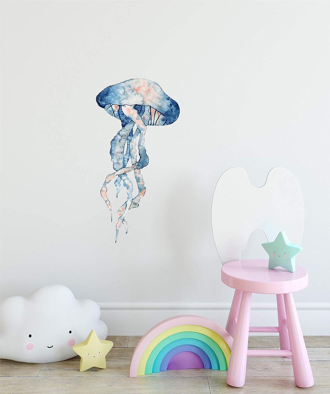 Watercolor Navy Blue & Orange Jellyfish Wall Decal Under The Sea Ocean Fish Wall Sticker Nursery Decor Removable Fabric Vinyl
