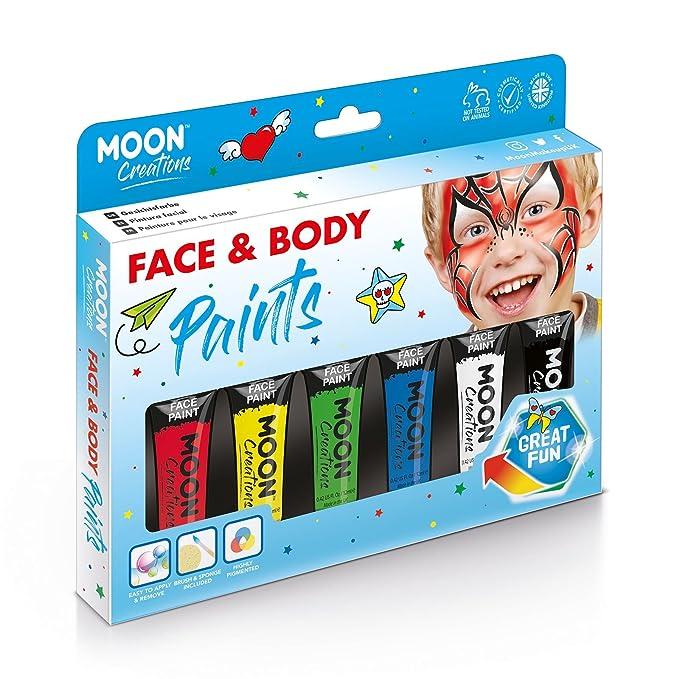 Caja de 6 Pinturas neón Corporales y Faciales de colores intensos