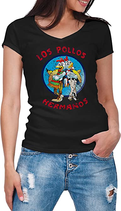 Breaking Bad Los Pollos Hermanos Vintage Retro Negra Camisa con Cuello de Pico para Mujer: Amazon.es: Ropa y accesorios