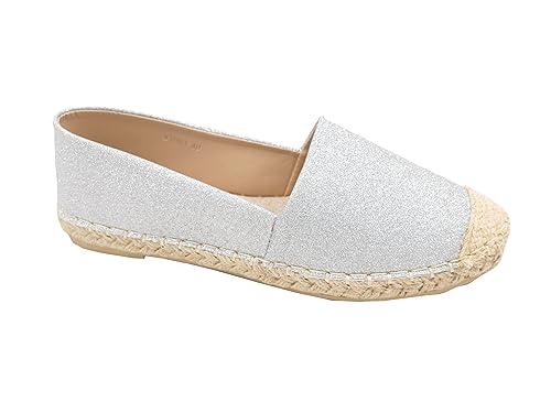 Trends für Dich Damen Metallic Glitzer Schuhe Espadrille