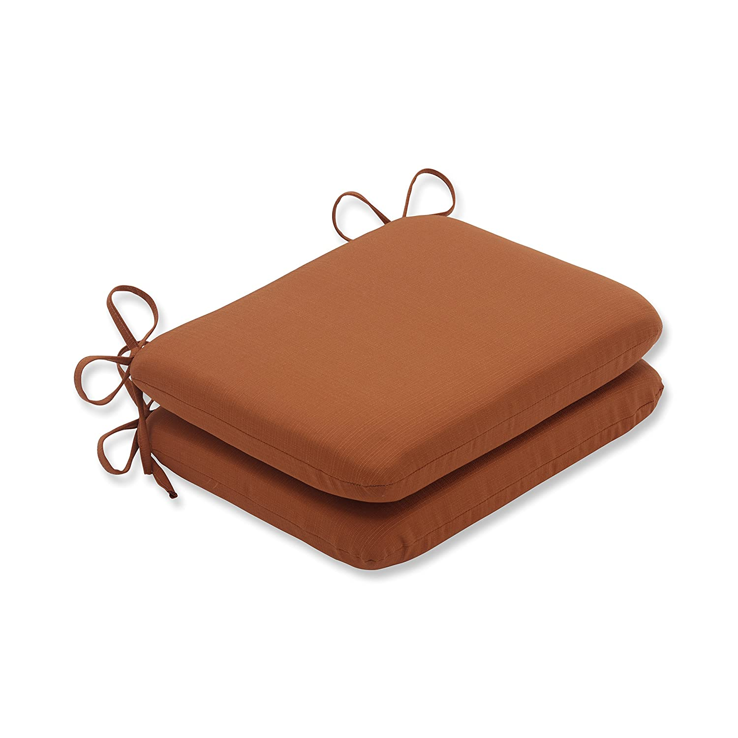 Pillow Perfect Outdoor Cinnabar Rounded Seat Cushion, Burnt Orange, Set of 2