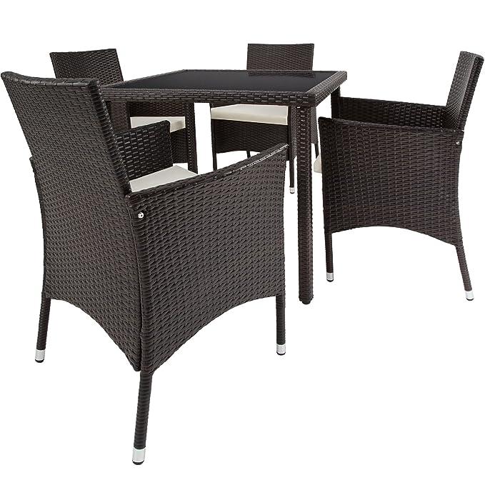TecTake Poly Ratán Muebles de jardín Conjunto para jardín 4+1 | Tornillos de acero inoxidable incluidos - disponible en diferentes colores - (Mixed ...