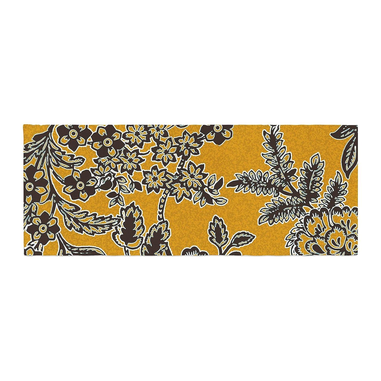Kess InHouse Vikki Salmela Golden Blossom Gold Black Bed Runner