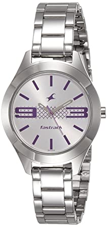 7b631a980 Image Unavailable. Image not available for. Colour  Fastrack Analog Silver  Dial Women s Watch-NK6153SM01