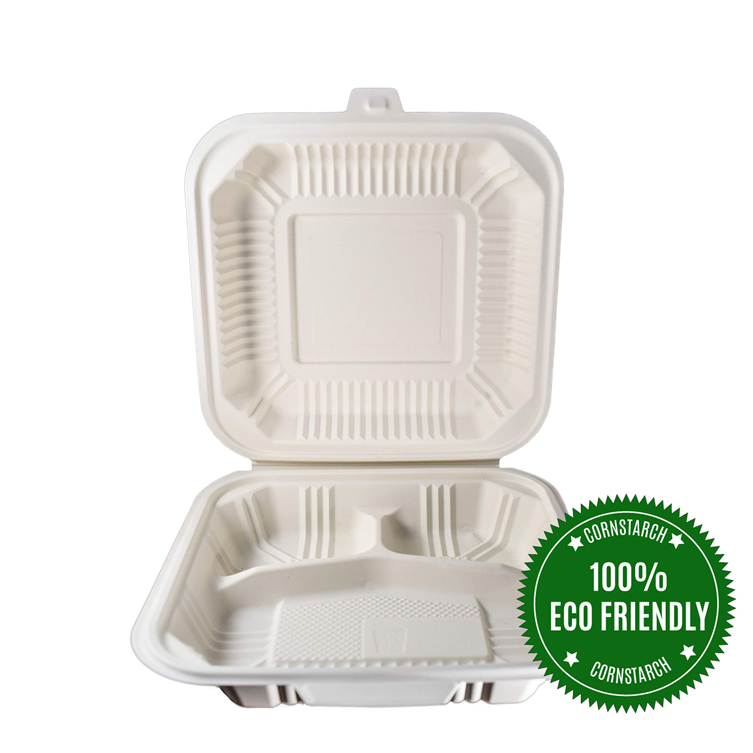 HeloGreen Eco-Friendly (8'' x 8'', 3-Compartment) Cornstarch Disposable Take Out To Go Food Containers With Lids For: Lunch Salad Meal Prep Storage Boxes Leftover, Microwave and Freezer Safe - (100 Set) by HeloGreen