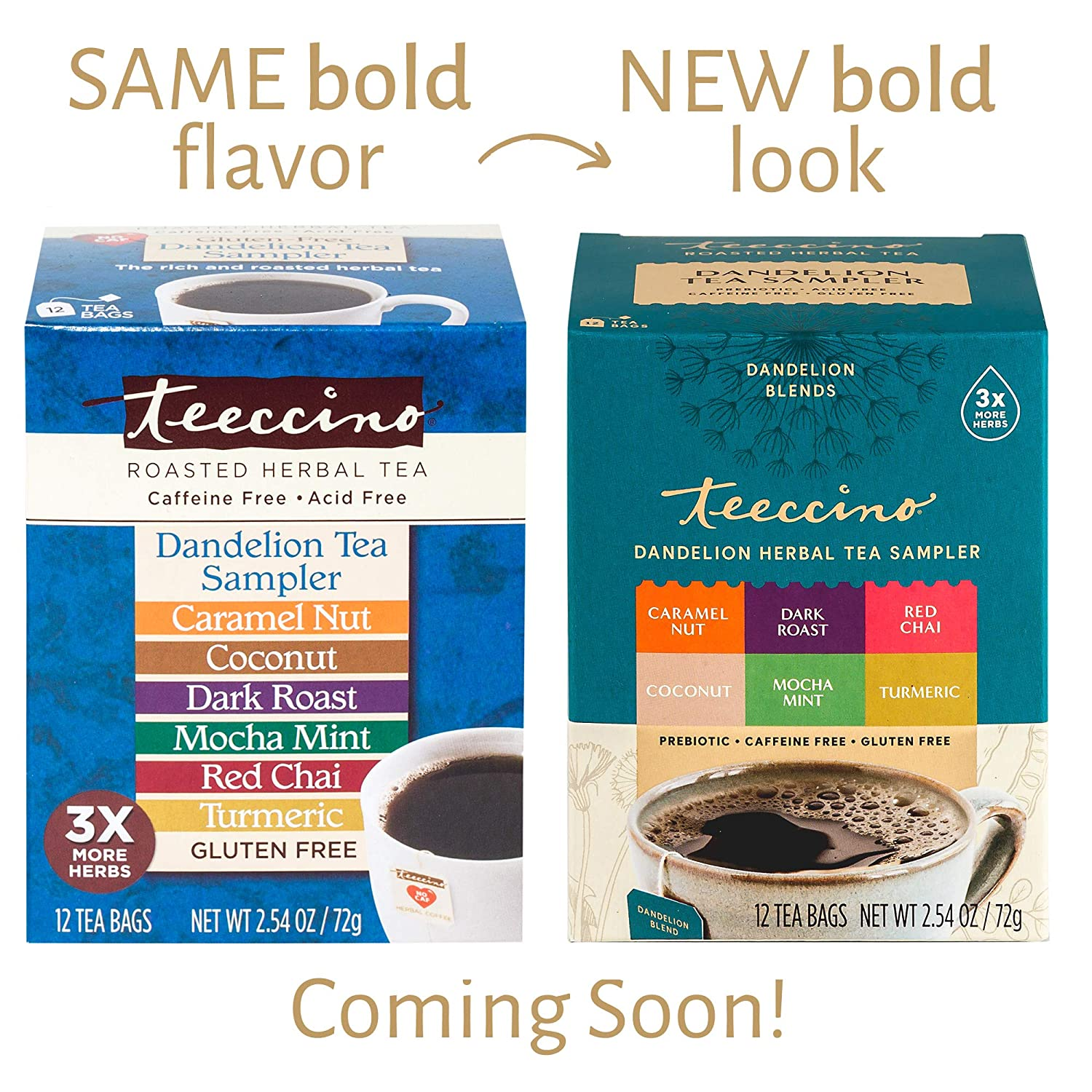Teeccino Dandelion Tea Sampler – Caramel, Coconut, Dark Roast, Mocha Mint, Red Chai, Turmeric – Roasted Herbal Tea That's Caffeine Free & Prebiotic with Detoxifying Dandelion, 12 Tea Bags
