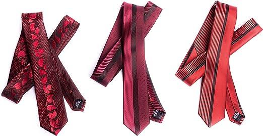 OfficePunk Corbata roja y estrecha - BE RED -3 corbatas de alta ...