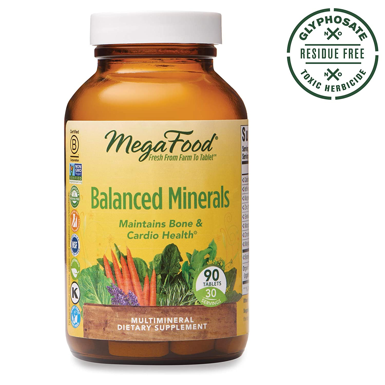 MegaFood, Balanced Minerals, Helps Maintain Bone and Cardiovascular Health, Multivitamin Supplement, Gluten Free, Vegetarian, 90 Tablets 30 Servings FFP