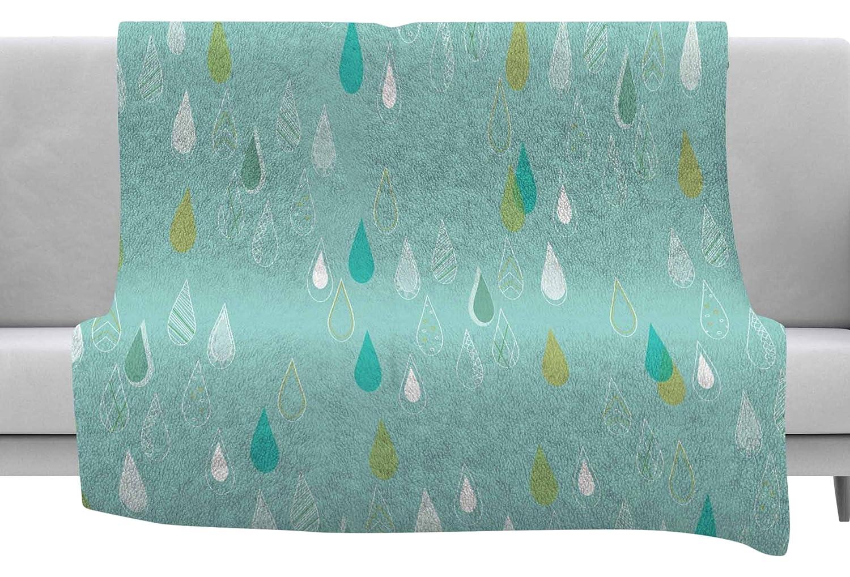 Kess InHouse Bridgette Burton Feathered Rain Teal Gold Throw 80 x 60 Fleece Blanket