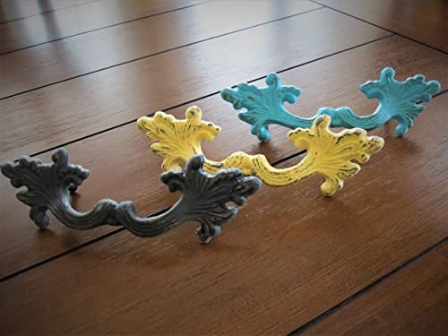 Cast Iron Large Furniture Pull with 3.75 Inch Spacing for Dresser, Choose from 40 Colors, Cottage, Shabby Chic Dresser, Cabinet, Drawer, Desk Handle, Made to Order and Sold per Unit