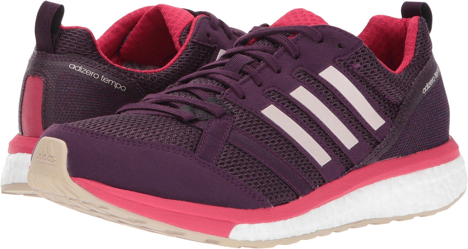 adidas Women's Adizero Tempo 9 w Running Shoe, Red Night/Ice Pink/Energy Pink, 8 Medium US