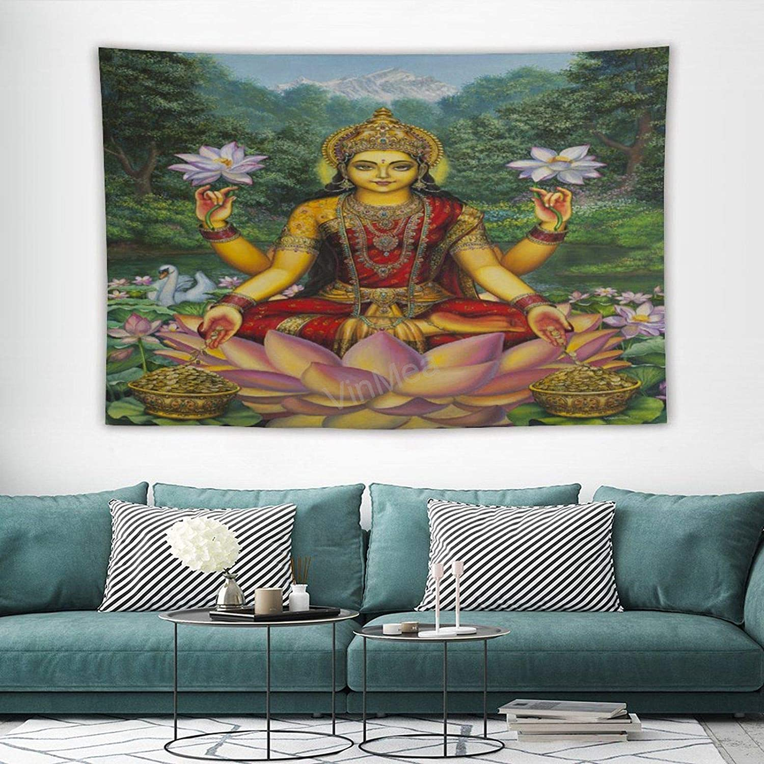 """VinMea Lakshmi Wall Hanging Pictures Tapestry Home Decoration for Bedroom Living Room 150 X100cm (59""""X39"""")"""