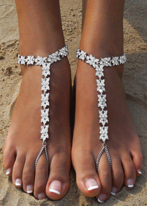 Bienvenu White Faux Pearl Rhinestone Foot Jewelry Beach Anklet Bridal Wedding Bangles Pool Party Accessories Set, Silver Style 3 by Bienvenu (Image #3)