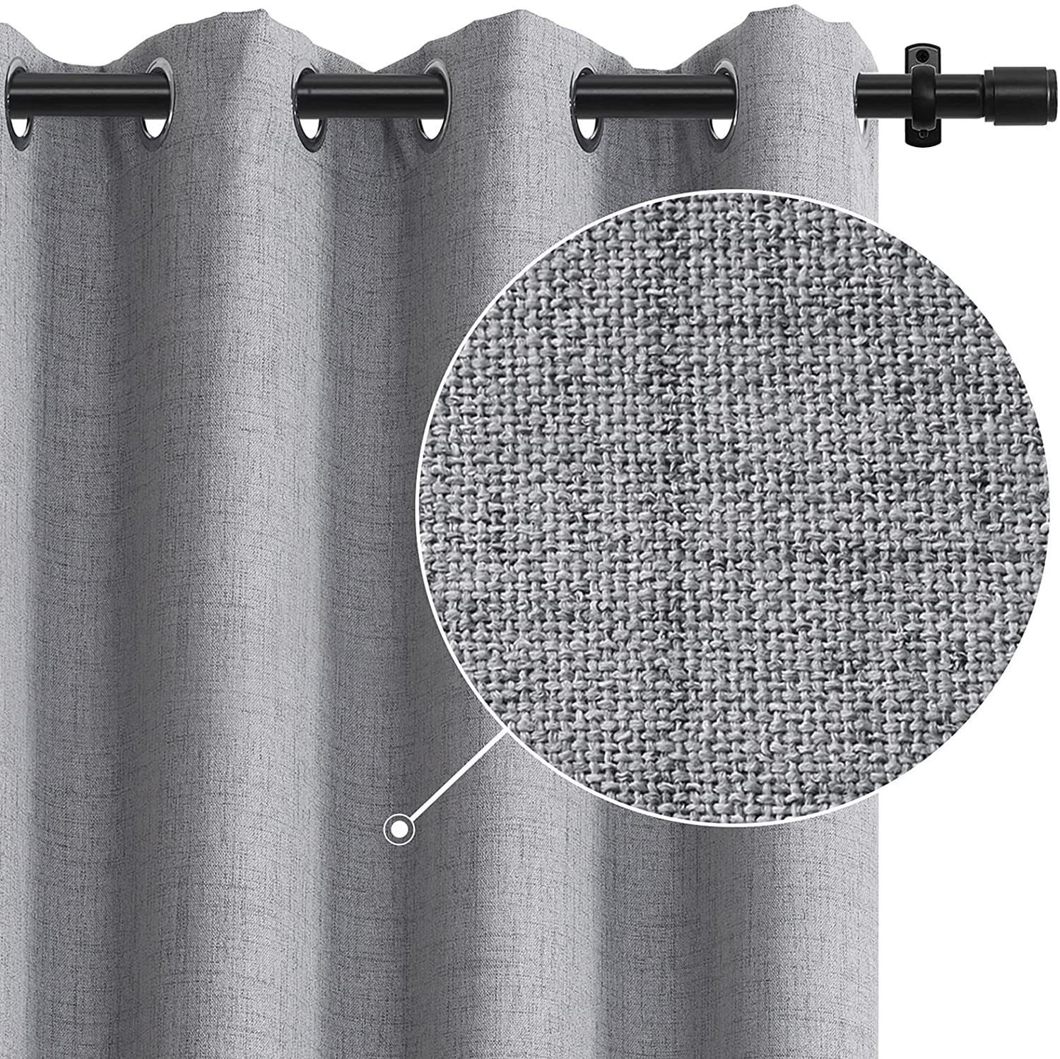 Rose Home Fashion 100% Blackout Curtains for Bedroom Linen Textured Look Drapes with Blackout Liner, Curtains for Living Room/Farmhouse, Burlap Curtains-Set of 2 Panels (50x63 Grey) Grey W50 x L63
