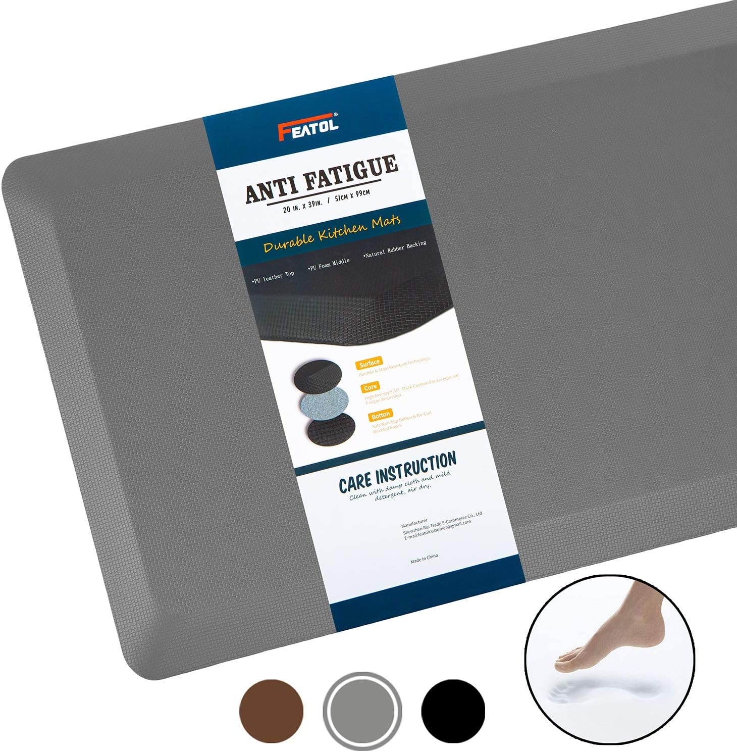 "Anti Fatigue Mat Kitchen Mats Cushioned,Thicken Core Foam 20x32x9/10-Inch,Perfect for Kitchens,Standing Desks and Garages,Phthalate Free,Relieves Foot,Knee,and Back Pain(Gray, 20""x32"")"