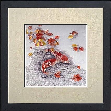 Amazon Com Silk Art 100 Handmade Embroidery Framed Pair Of Red