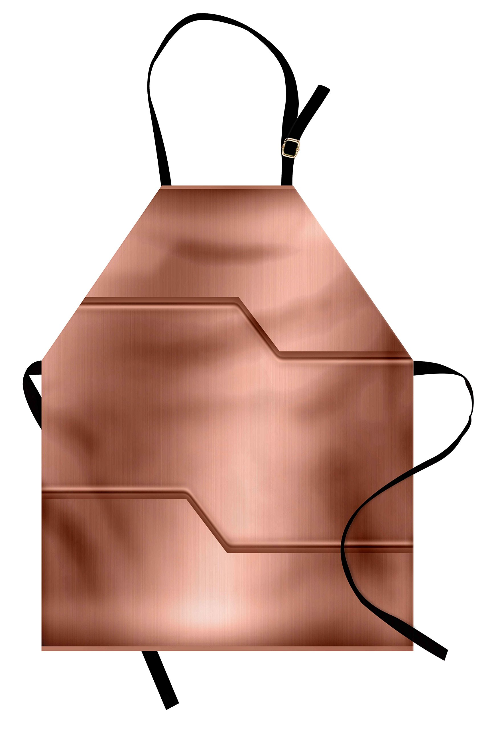 Ambesonne Industrial Apron, Realistic Looking Steel Surface Print Plate Bar Image Technology Inspired Design, Unisex Kitchen Bib Apron with Adjustable Neck for Cooking Baking Gardening, Rose Gold