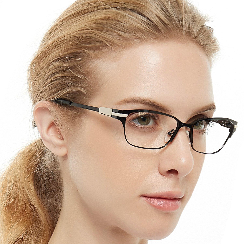 9a0c66dd2c887 Amazon.com  OCCI CHIARI Beatyfull Rectangular Designer Metal Eyeglasses  Frames with Clear Lens Eyewear(Bright black+Gold) For Women Men  Shoes