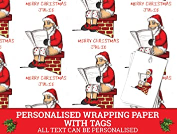 personalised christmas wrapping paper 590mm 840mm santa wrpl