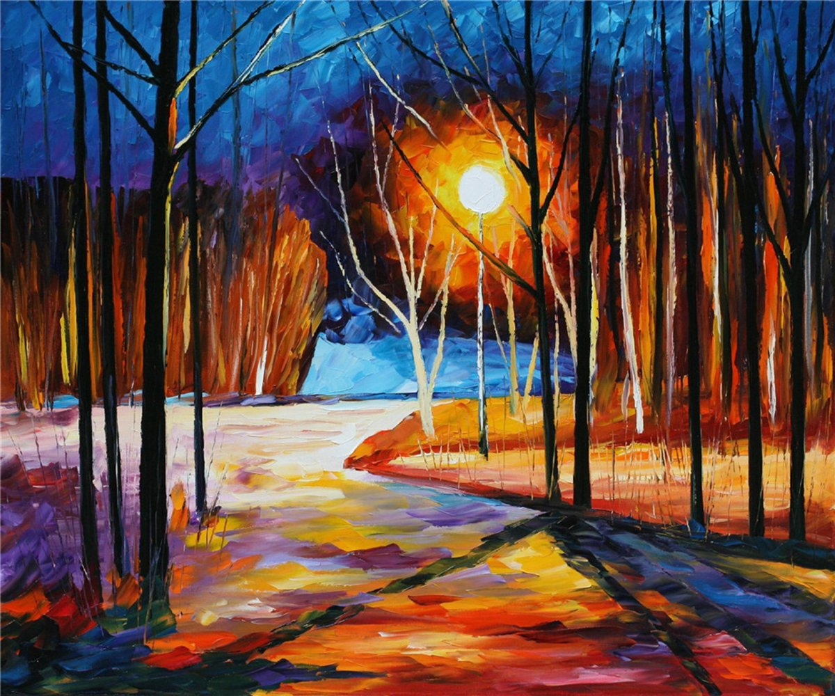 100% Hand Painted Oil Paintings Modern Canvas Art Abstract Oil Painting Autumn Forest Home Wall Decor (20X24 Inch, Canvas 1) by Bingo Arts