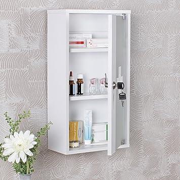 FineBuy Medizinschrank CROSS Holz Weiß 26 x 48 x 12 cm abschließbar ...