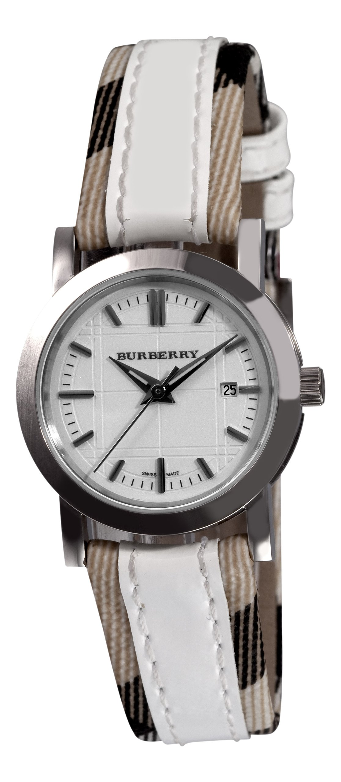 Burberry Women's BU1395 Round 3-Hand Date White Dial Watch