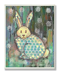 The Kids Room by Stupell Distressed Woodland Rabbit Rectangle Wall Plaque, 11 x 0.5 x 15, Proudly Made in USA