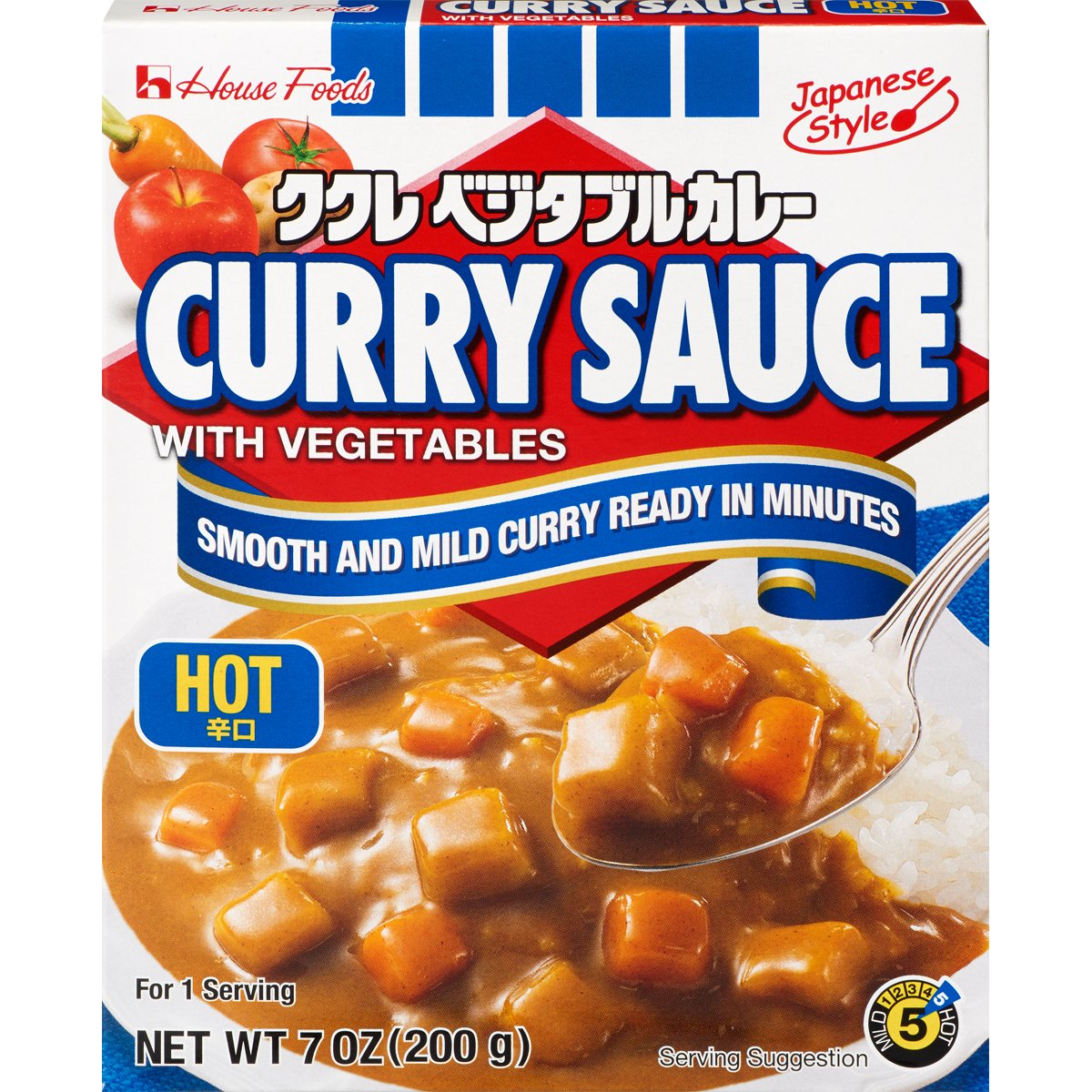 House Foods Curry Sauce with Vegetables, Hot, 7 Ounce Boxes (Pack of 10)