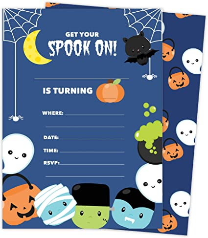Amazon.com: Halloween Boys 2 tarjetas de invitación de ...