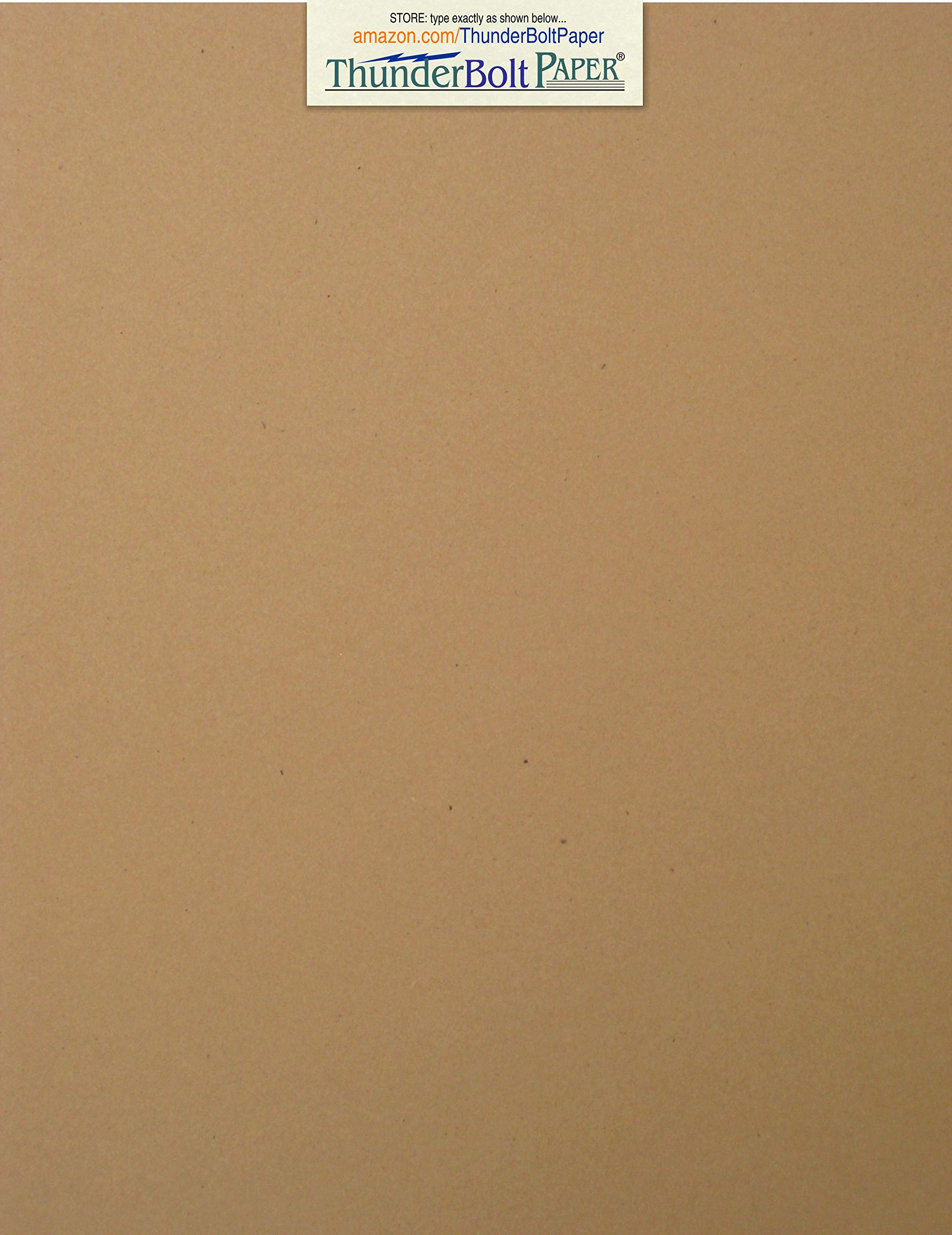 100 Brown Kraft Fiber 80# Cover Paper Sheets - 8.5'' X 11'' (8.5X11 Inches) Standard Letter|Flyer Size - Rich Earthy Color with Natural Fibers - 80lb/Pound Cardstock - Smooth Finish by ThunderBolt Paper