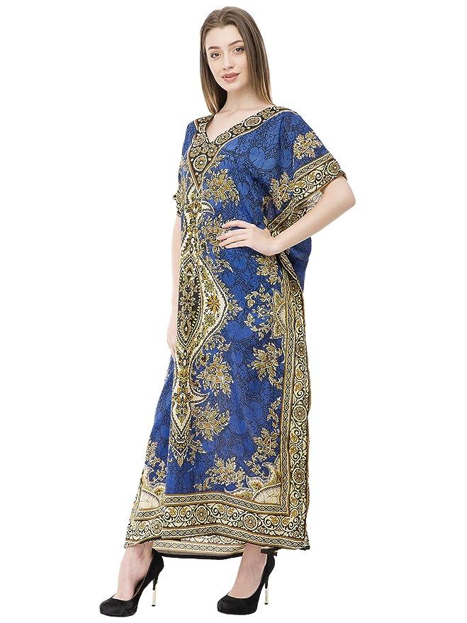 SKAVIJ Caftan Robe pour Aux Femmes V Cou Caftan Plus Taille Longueue  Chemise de Nuit Couvrir e174dc0a9ff