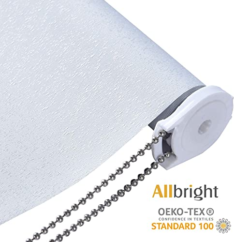 ALLBRIGHT Drizzle 100 Blackout Blinds Thermal Insulated UV Protection Energy-Saving Waterproof Vinyl Roller Shades for Bedroom, IvoryWhite, 35 W x 72 H