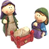 CraftMore 3-Piece Christmas Decoration Miniature Nativity Set, Hand-Painted with Gift Box