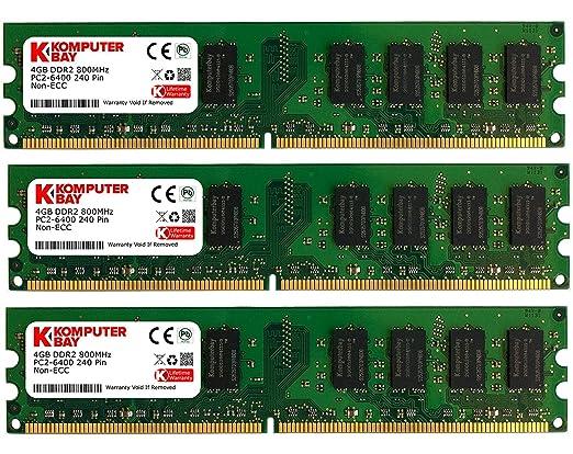 1096 opinioni per Komputerbay 12GB (3x 4GB) 240 Pin 800MHz PC2 6400/PC2 6300 DDR2 DIMM