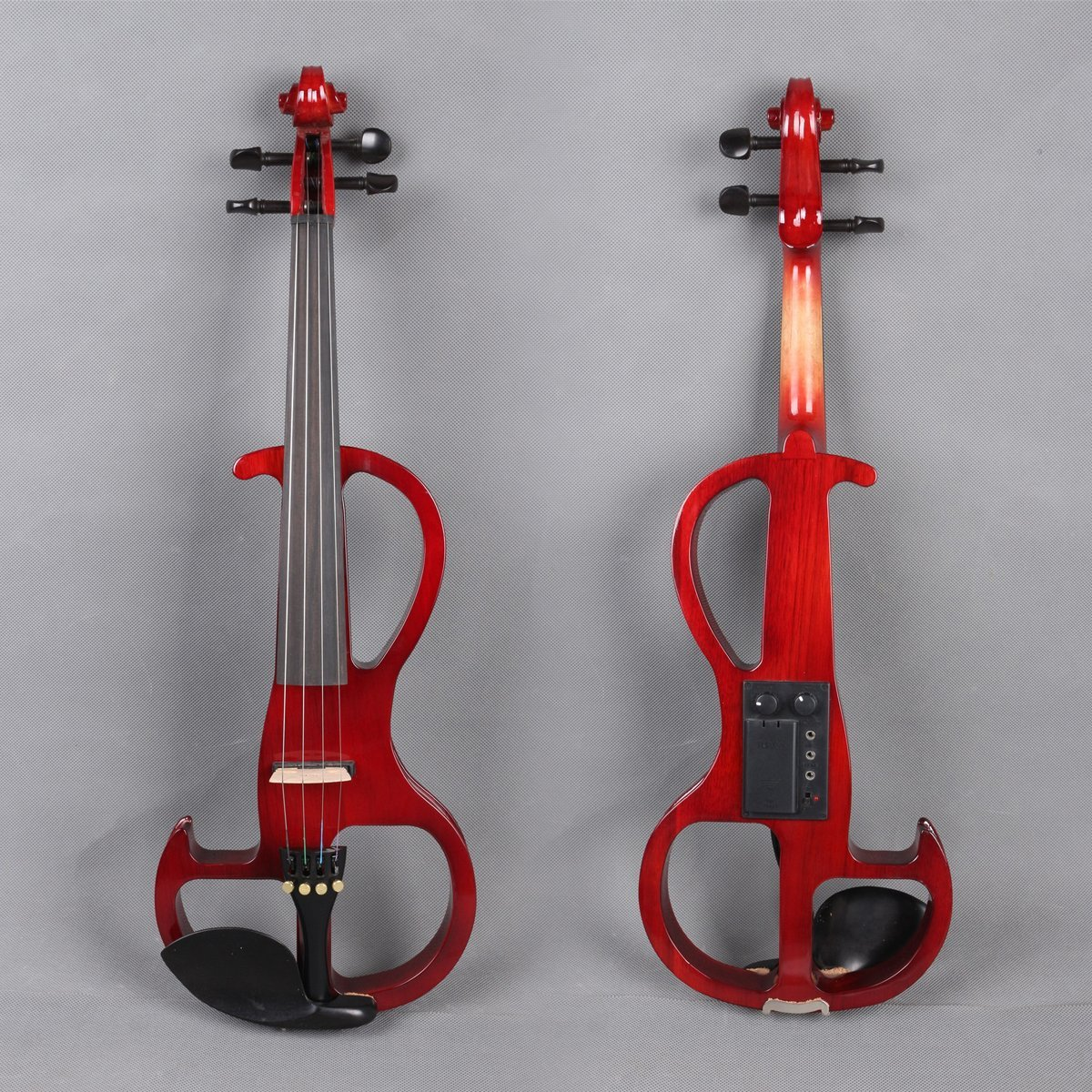 Yinfente Electric Violin 4/4 Full Size Silent Violin Solid wood With Violin Case Bow (Red)