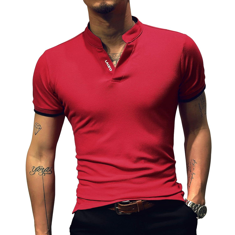 LOGEEYAR Mens Fashion Short-Sleeve Slim Fit Pique Polo Shirt Cotton Summer Clothes Henley T-Shirts