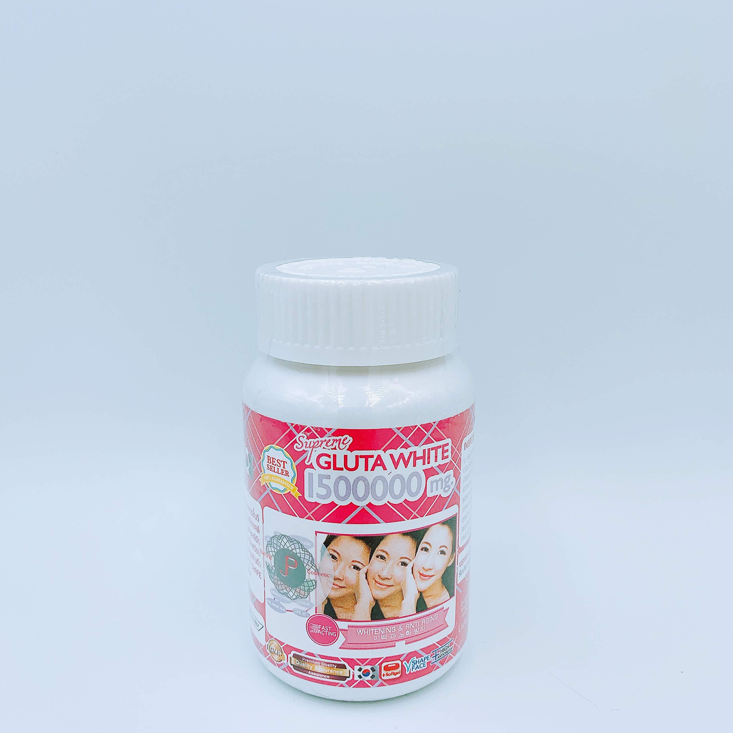 1 Bottle X 30 Softgels Supreme Gluta White 1500000mg. Super Whitening Glutathione Anti - Aging. (Supreme Whitening Skin Boost up Collagen Remove Dark Spot and Scar Tighten Pore Healthy Skin and Hair)
