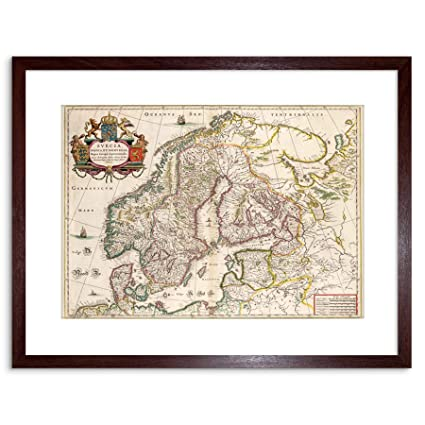 picture about Scandinavia Map Printable named 9x7 MAP ANTIQUE SCANDINAVIA NORWAY SWEDEN FINLAND FRAMED Artwork PRINT F97X509